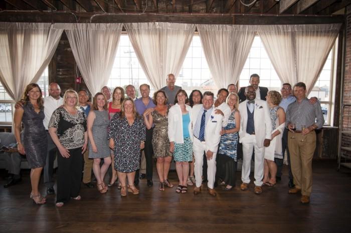 Gonzaga friends Kathryn ('88) and Dale ('88) Elmenhurst, Lois Ballard ('87), Chris Young ('88), Claire ('87) and John Dempsey ('87), Theresa Schneider Clark ('87), Kelly Heaphy Rosa ('88) and Paul Rosa ('86), Mark Taylor ('88), Kathleen Gardipee ('87), Tom Goldsmith ('88), Catherine Rosa Mirkin ('87), Natalie Ornellas Castro ('87), Ben Page ('87), Joe Rowland ('86), Lisa ('87) and Adam ('86) Foltz, Bryan Adamson (Miami of Ohio '85), Alonso Dominguez ('86), Linda Grovner ('86), Joe Herzog ('87), and Mark Sole ('89) joined Page and Adamson to celebrate their wedding.