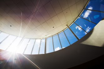 Sun shines through the skylight of the Hemmingson Center