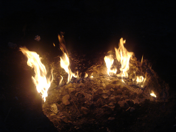 The flames at the Chimera (see below).