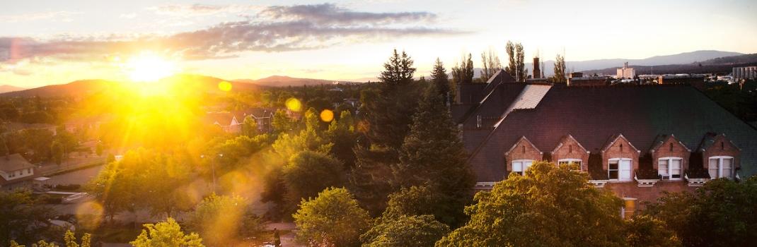 The sun rises over Gonzaga as summer classes kick off.Photo by Rajah Bose
