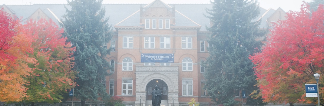 Foggy day on campus at Gonzaga. (Photo by Rajah Bose)