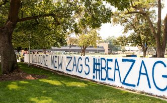 "Wall by College Hall painted to say ""Welcome New Zags! #Be a Zag"