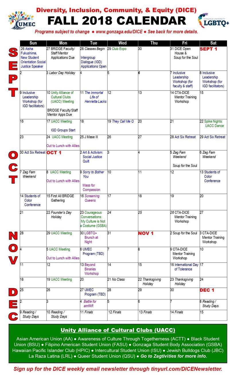 DICE Calendar Page 1