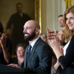 First Lady Michelle Obama and actor and singer Connie Britton, right, applaud as Counselor of the Year Cory Notestine, a school counselor at Alamosa High School in Alamosa, Colo., delivers remarks during the Counselor of the Year event in the East Room of the White House, Jan. 30. (Official White House Photo by Amanda Lucidon.)
