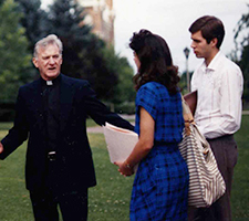 President Thayne M. McCulloh as a student with Father Coughlin