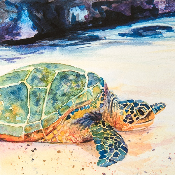 water color of sea turtle by Marionette Taboniar